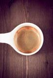 Włoskiej kawy espresso filiżanki odgórny widok, stary styl Obrazy Stock