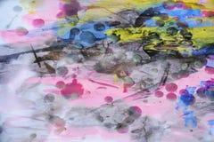 Woskowatej fiołkowej akwareli abstrakcjonistyczny tło w żywych odcieniach Zdjęcie Stock
