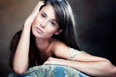 włosy długa portreta kobieta Zdjęcia Royalty Free