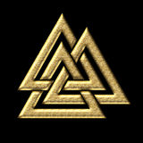 Wotans knot - Valknut - Odin - triangle. Wotans knot - isolated on black background Stock Images