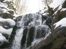 Woterfall Shypit: primavera en las montañas cárpatas Imagen de archivo libre de regalías