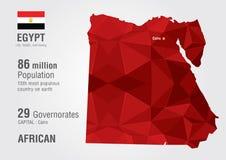 Woth de carte du monde de l'Egypte une texture de diamant de pixel Photographie stock