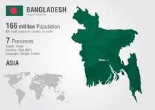 Woth de carte du monde du Bangladesh une texture de diamant de pixel Photographie stock libre de droits