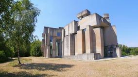 Wotruba church, vienna, austria, unconventional, futuristic, strange, contemporary building, 4k stock footage