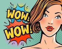 Wouah, belle fille ou jeune femme étonnée Beauté, concept de goupille- Style comique d'art de bruit rétro Vecteur de bande dessin illustration libre de droits
