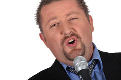 Would be male singer. With microphone Royalty Free Stock Image