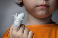Wound. Boy with a wound on his finger Stock Photography