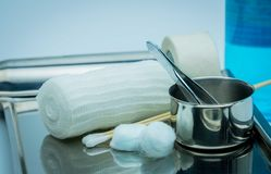 Wound Care Dressing Set On Stainless Steel Plate. Cotton Ball Wi Royalty Free Stock Image