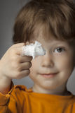 Wound, focus on finger. Boy with a bandaged wound on his finger stock images