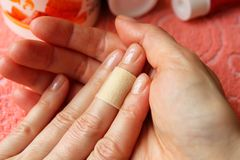Wound plaster finger royalty free stock images