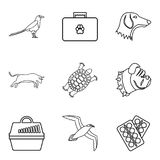 Wounded animal icons set, outline style. Wounded animal icons set. Outline set of 9 wounded animal vector icons for web isolated on white background vector illustration