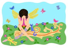 The wounded fairy cries. The fairy sits on a fallen tree. Vector. Illustration Royalty Free Stock Photo