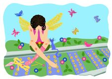The wounded fairy cries. The fairy sits on the old railway. Vector. Illustration Stock Photo
