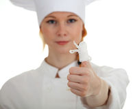 Wounded female cook Royalty Free Stock Images