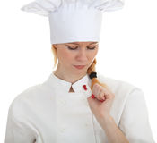 Wounded female cook Stock Photo