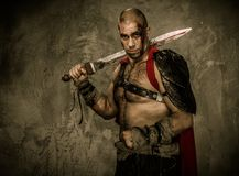 Wounded gladiator  holding sword Royalty Free Stock Images