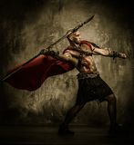 Wounded gladiator with spear. Wounded gladiator in red coat throwing spear Royalty Free Stock Image