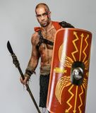 Wounded gladiator with spear Royalty Free Stock Image