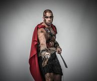 Wounded gladiator with sword Royalty Free Stock Photo