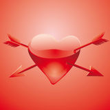 Wounded glass love heart Stock Image
