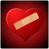 Wounded heart. Red wounded heart with plaster on red background royalty free illustration