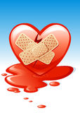 Wounded heart. Illustration of a wounded heart with sticking plasters and pool of blood. Available in vector AI format Stock Photography
