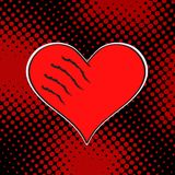 Wounded love red heart on dark dot background. Pop art retro vector illustration royalty free illustration