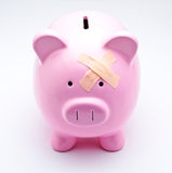 Wounded piggy bank Stock Images
