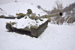 Wounded Russian tank. 01.2015 Stock Image
