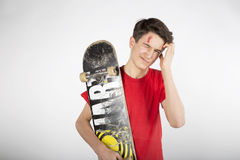 Wounded after Skateboarding stock photo