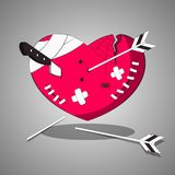 A wounded, tortured heart with cuts and wounds. Vector illustration. stock illustration