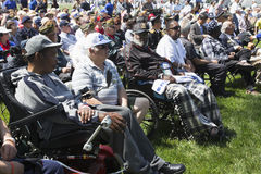 Wounded vets in wheel chairs at Los Angeles National Cemetery Annual Memorial Event, May 26, 2014, California, USA Royalty Free Stock Photography