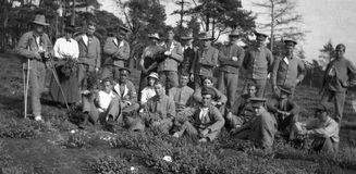 Wounded warriors. Group of fit and wounded New Zealand soldiers from the First World War, location unknown Royalty Free Stock Photography