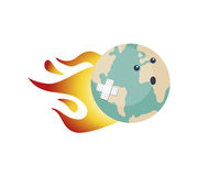 Wounded world. Hand drawn vector illustration or drawing ofa wounded world cartoon, with fire flames and a band aid Royalty Free Stock Photo