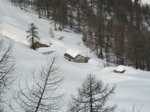 Wountainlandschap in de winter Royalty-vrije Stock Foto's