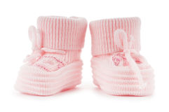 Woven baby shoes isolated on white. Background Stock Photos