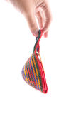 Woven bag is rope pattern with hand hold for mon Stock Photos