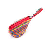 Woven bag is rope pattern for money pouch on a w Royalty Free Stock Photos