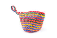 Woven bag is rope pattern for money pouch on a w Royalty Free Stock Images