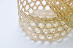 Woven bamboo basket on white background Stock Image