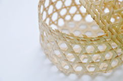 Woven bamboo basket on white background Royalty Free Stock Photography