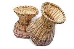 Woven bamboo container. Royalty Free Stock Image