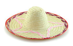 Woven bamboo hat on white background Stock Photo