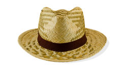Woven bamboo hat on a white background. Royalty Free Stock Images