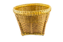 Woven (bamboo and rattan) basket. On white background Royalty Free Stock Photography