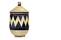 Woven basket. Woven african basket with lid on white background Royalty Free Stock Photography