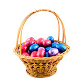 Woven basket with easter eggs Stock Images