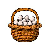 Woven basket with Easter eggs, decoration element, cartoon vector illustration. Woven basket full of painted Easter eggs, decoration element, cartoon vector Stock Photos