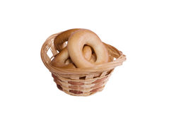 Woven basket full of bagels Stock Photo