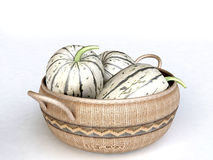 Woven Basket Full of Juicy melons. Isolated on white background Royalty Free Stock Photography